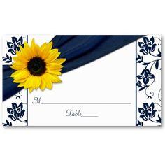 Yellow sunflower, navy blue damask wedding place or escort cards. #weddings