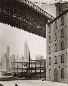 Brooklyn Bridge, Water and Dock Streets, looking southwest, Brooklyn, by Berenice Abbott - 20x200 (from $24)