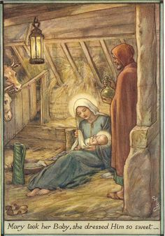 Vintage 1929 childrens Christmas print / book illustration by Cicely Mary Barker entitled Mary Took Her Baby She Dressed Him So Sweet . The