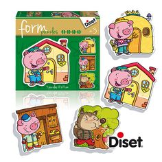 "Characters from ""The Three Little Pigs"" story. Form Puzzles collection for 3-year-old children. Diset, 2015."