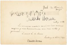 ARRAU, CLAUDIO - 4-meaure Bach AMusQS by the Chilean-American pianist, 1939