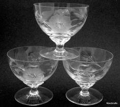 WJ Hughes Canada Sherbet Stemmed Glass Set of 3 CornFlower Vintage Cut Glass Mid Century Modern
