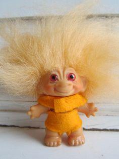 1964 Original Dam Troll Doll Orange Mohair Glass by VintageBlur, $28.00