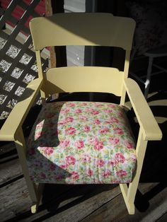 Shabby cottage chic yellow rocker.