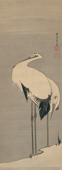 Ito jakuchu(伊藤 若冲) , Burke Collection | Two Cranes