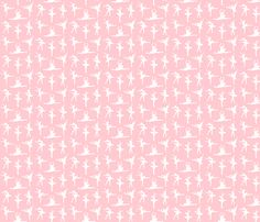 Ballerina White Silhouette on Professional Pink - Small fabric by kipandfig on Spoonflower - custom fabric