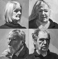 4 x 90 minute acrylic studies by David Gamblin, Cornwall