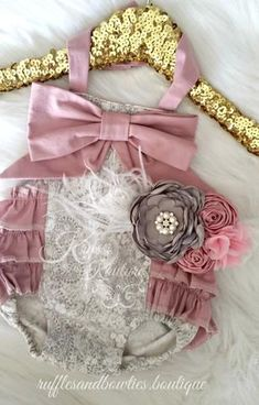 Kryssi Kouture Grey & Dusty Rose Lace Ruffle Romper - Lace Baby Romper - Ruffle Butt Denim Romper - Baby Lace & Bow Romper - Limited Edition Romper - One Of A Kind Romper