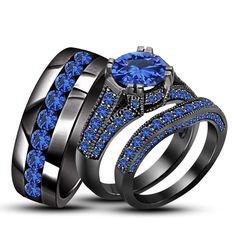 14K Black Gold Fn .925 Silver 4.50 CT RD Blue Sapphire His & Her Bridal Ring Set #TrioRingSet
