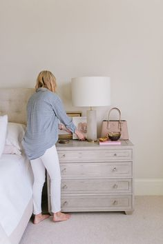 At Home with Framebridge – Ivory Lane Bedroom Lamps, Master Bedroom, Bedroom Decor, Master Suite, Diy Farmhouse Table, Bed Plans, Diy Bed, Bed Storage, Dresser As Nightstand