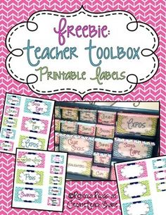 Teacher Toolbox - Printable Lables....These printable labels can be printed on card stock, cut, and pasted to make your own Teacher Toolbox...Create your own labels using the blanks provided. For these labels I used the font kg strawberry limeaid.