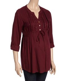 Another great find on #zulily! Times 2 Wine Lace-Accent Maternity Button-Front Top by Times 2 #zulilyfinds