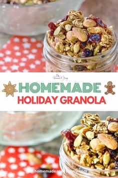 Cajun Delicacies Is A Lot More Than Just Yet Another Food Crunchy And Full Of Holiday Spices, This Homemade Holiday Granola Is A Delicious Way To Start Your Day. Makes A Great Homemade Food Gift Idea Homemade Christmas Gifts Food, Homemade Food Gifts, Christmas Foods, Christmas Baking, Christmas Recipes, Healthy Holiday Recipes, Snack Recipes, Party Recipes, Holiday Desserts