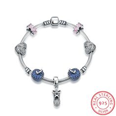 >> Click to Buy << Ann & Snow Authentic Small Shoes Pendant 925 Sterling Silver Original European Blue Apple Crystal Heart Bracelet & Bangle H008 #Affiliate