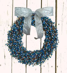 Blue and Silver Berry wreath, perfect for winter décor and Hanukkah!