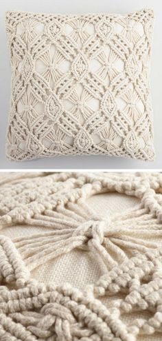 Beautiful handwoven macrame throw pillow made with thread made from recycled plastic bottles. This gorgeous pillow brings classic bohemian style to your favorite indoor or outdoor spaces. #ad #macrame #pillow #bohemian #homedecor #recycled #decoration #indoor #outdoor