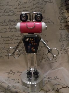 Ribit Bot  found object robot sculpture assemblage by ckudja, $35.00