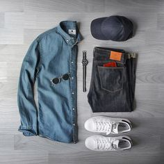 Double denim? Yes please.  Denim: @shockoe_atelier Slim Como Shirt: @nonationality07 New Derek Denim Hat: @varsityheadwear Storm Blue Wool Shoes: @adidasoriginals Stan Smith Sunglasses: @oliverpeoples Watch: @jcrew @timex Wallet: @miansai