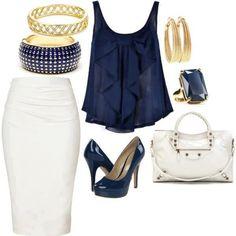 LOLO Moda: Chic Women's Fashion Love navy & white and love a good pencil skirt Work Fashion, Fashion Outfits, Womens Fashion, Fashion Ideas, Jw Fashion, Fashion Night, Office Fashion, Fashion Fall, Curvy Fashion