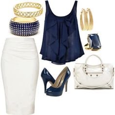 White Pencil Skirt Outfit Idea