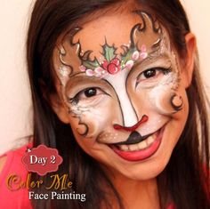 25 Days of Christmas, Day 2 - The cutest reindeer face painting - Color Me Face Painting
