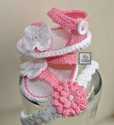 Crochet Baby Girl Sandals  Made By Me.....Sandalias de Bebe a Crochet hecho por Mi