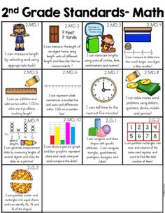 Grade I Can Statements Common Core with Pictures by Melissa Moran Homeschooling 2nd Grade, Teaching Second Grade, 2nd Grade Teacher, 2nd Grade Classroom, Second Grade Math, Math Classroom, Teaching Math, Teaching Time, Grade 2