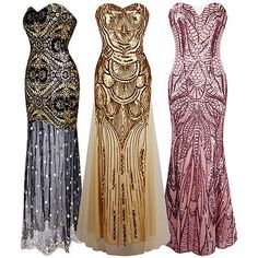 Vintage 1920s Sequin Gatsby Mermaid Flapper Long Dress Party Evening Costumes | eBay