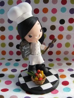 Fofinhos para Curitiba-PR by Patricia Tiyemi ^.^, via Flickr Polymer Clay Figures, Polymer Clay Dolls, Polymer Clay Crafts, Kids Cooking Party, Jumping Clay, Homemade Clay, Baking Clay, Clay Figurine, Fondant Toppers