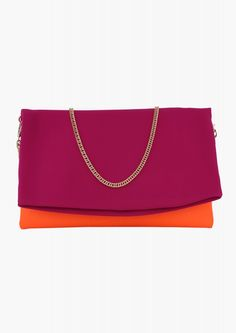 Color Block Neoprene Clutch in Pink | Necessary Clothing