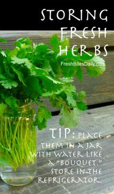 Storing Fresh Herbs at FreshBitesDaily.com