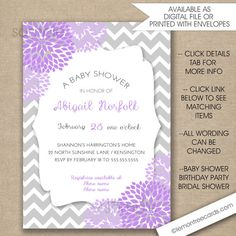 Lavender Baby Shower invitations FREE SHIPPING by lemontreecards