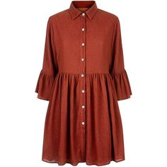 Mela Brown Bell Sleeve Shirt Dress (120 BRL) ❤ liked on Polyvore featuring dresses, tops, flared sleeve dress, red dress, long shirt dress, brown shirt dress and red bell sleeve dress