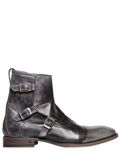 JOHN VARVATOS - BUCKLED WASHED LEATHER BOOTS - LUISAVIAROMA - LUXURY SHOPPING WORLDWIDE SHIPPING - FLORENCE