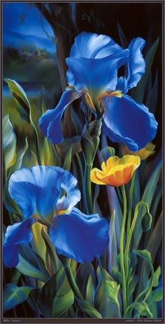 Blue Iris Flowers - painting - By Vie Dunn-Harr Art Floral, Iris Flowers, Blue Flowers, Botanical Art, Beautiful Paintings, Painting Inspiration, Watercolor Paintings, Flower Paintings, Painting & Drawing