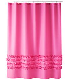 bright pink ruffle shower curtain from H&M UK