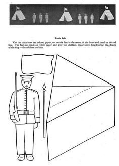 Printable: vintage 1918 soldier and tent to colour, cut out