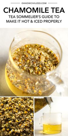 This guide from Oh, How Civilized is the best guide to making perfect chamomile tea every time. Made by steeping chamomile flower buds in water ,this caffeine-free tisane is so delicious. Find out how to make the best chamomile tea, hot and iced here. #tea #tearecipe #chamomiletea #herbaltea Tea Recipes, Sweet Recipes, Chamomile Tea Benefits, Comfort Room, Tea Latte, Ginger Tea, Holistic Remedies, Beverages, Drinks