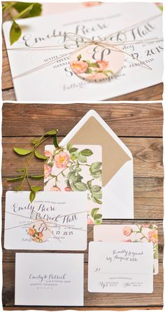 Smitten on Paper | BLUSH ROSE WEDDING INVITATION with Twine bow |