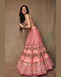 A pastel lehenga is a perfect attire for a day wedding. Moreover, it is quite pairable with some light jewellery designs that will not make you look overly dressed. Indian Wedding Gowns, Desi Wedding Dresses, Indian Gowns Dresses, Indian Bridal Outfits, Indian Bridal Wear, Indian Designer Outfits, Punjabi Wedding, Designer Bridal Lehenga, Bridal Lehenga Choli