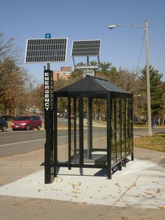 Solar Powered Bus Stop Shelter For more great solar and wind power projects and information, go to www.windmillsforelectricity.com