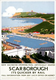 Vintage travel poster produced in 1939 for the London North Eastern Railway to promote travel to the beautiful seaside resort of Scarborough in Posters Uk, Train Posters, Railway Posters, Online Posters, British Travel, British Seaside, England Travel Poster, National Railway Museum, Tourism Poster