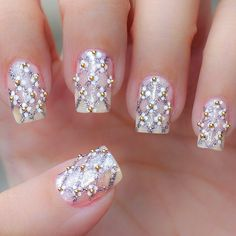 20 Classy Wedding Nail Art Designs - Be Modish - Be Modish The Effective Pictures We Offer You About wedding nails lace A quality picture can tell you many things. You can find the most beautiful pict Nail Art Designs 2016, Bridal Nails Designs, Wedding Nails Design, Natural Wedding Nails, Simple Wedding Nails, Nail Wedding, Wedding Gold, Fantastic Nails, Fabulous Nails