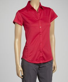 Another great find on #zulily! Cherry Cap-Sleeve Vented Hiking Shirt - Women by Guide's Choice #zulilyfinds