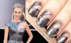 MANICURE MUSE: Naomi Watts at the Oscars '13 - negative space nail art inspired by fashion (OPI - Lucerne-tainly Look Marvelous & Essie - Set In Stones)