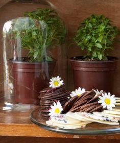 Σοκολατάκια με ζαχαρωμένα άνθη Chocolate Desserts, Fun Desserts, Truffles, Food Inspiration, Planter Pots, Cookies, Greek, Crack Crackers, Biscuits