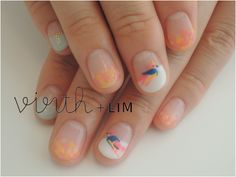 love nail designs floating on a clear/nude base - so modern! - nail art - manicure - bird - spring nail ideas