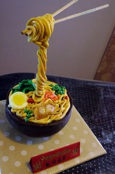 """My first gravity-defying cake. So much fun! """"A bowl of noodles with gyoza and all the trimmings. Crazy Cakes, Fancy Cakes, 3d Cakes, Mini Cakes, Cupcake Cakes, Gravity Defying Cake, Gravity Cake, Unique Cakes, Creative Cakes"""