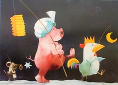Piggy and friends Toot & Puddle, Pig Drawing, Pig Illustration, Cute Piggies, Heine, Cute Drawings, Art Forms, Illustrators, Dinosaur Stuffed Animal