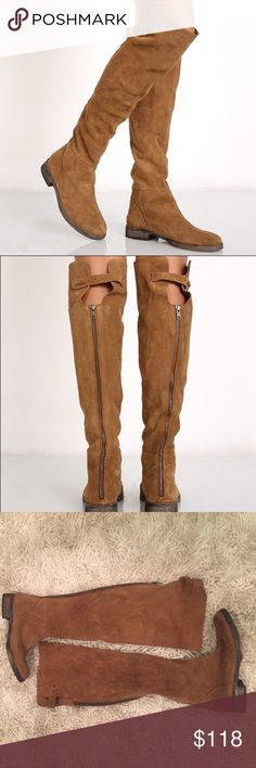 """Free People Cumbria Over the Knee Boots NEW WITH BOX. Free People Brown Cumbria Over the Knee Boots. Slightly Distressed with a Rugged Leather Fabrication. Soles have a Natural Distressed Look. Has Exposed Back Zip and Adjustable Buckle. Heel is 1."""" Size 7 Free People Shoes Over the Knee Boots"""